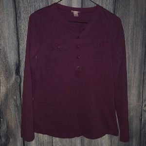 Mossimo Supply Co. Dark Red 3/4 Button Down Shirt